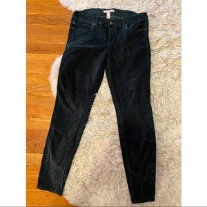 Forest green velvet skinny pants jeans forever 21